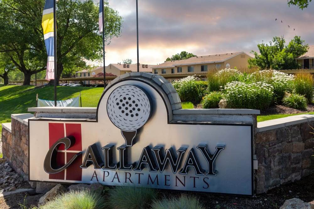 The front sign at Callaway Apartments in Taylorsville, Utah