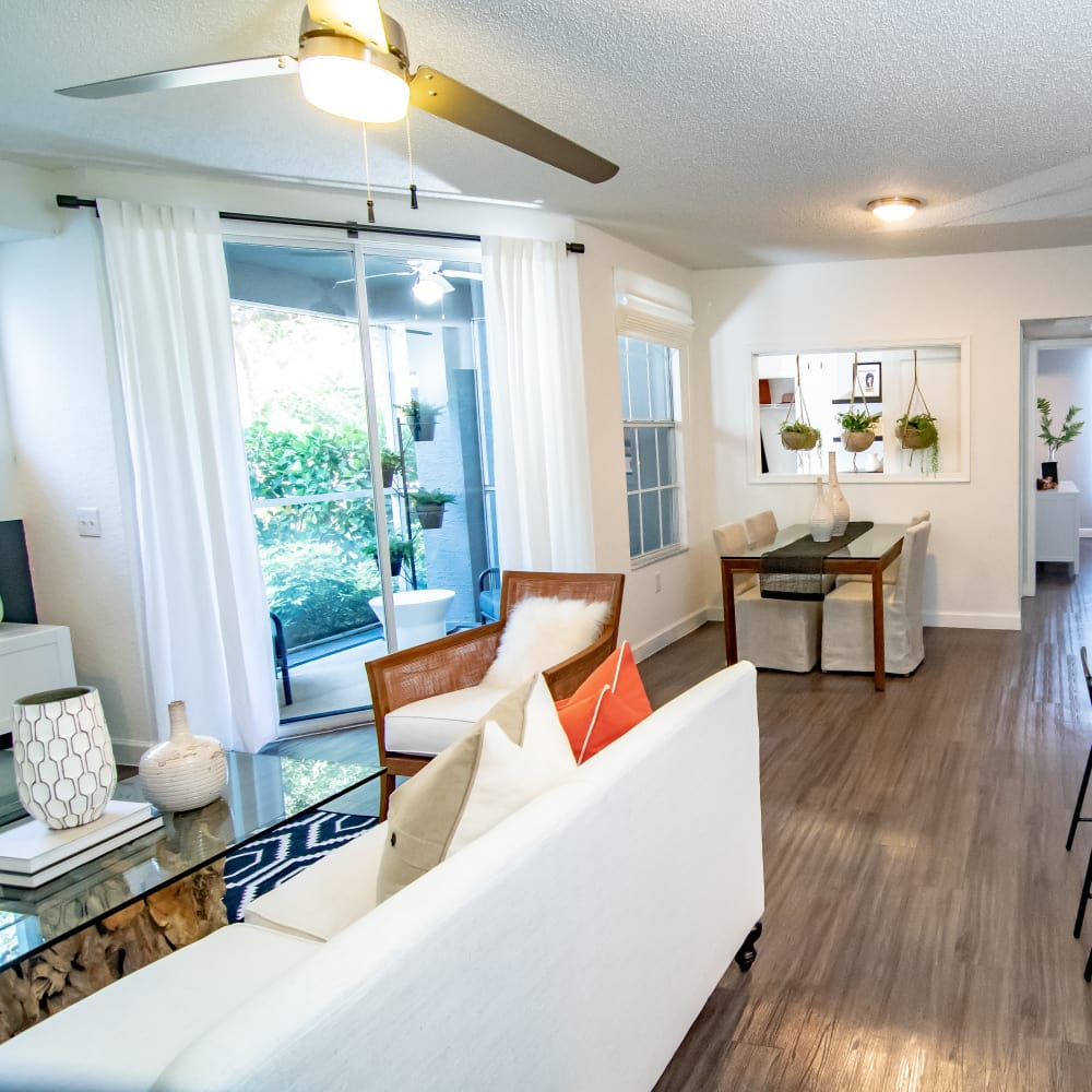 Lovely wooden flooring in unit at The Sophia at Abacoa in Jupiter, Florida