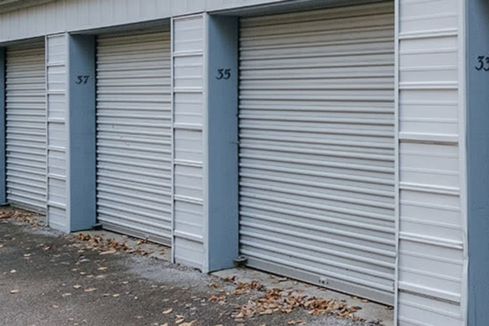 Garage style roll up doors on self storage units at StayLock Storage in Michigan City, Indiana