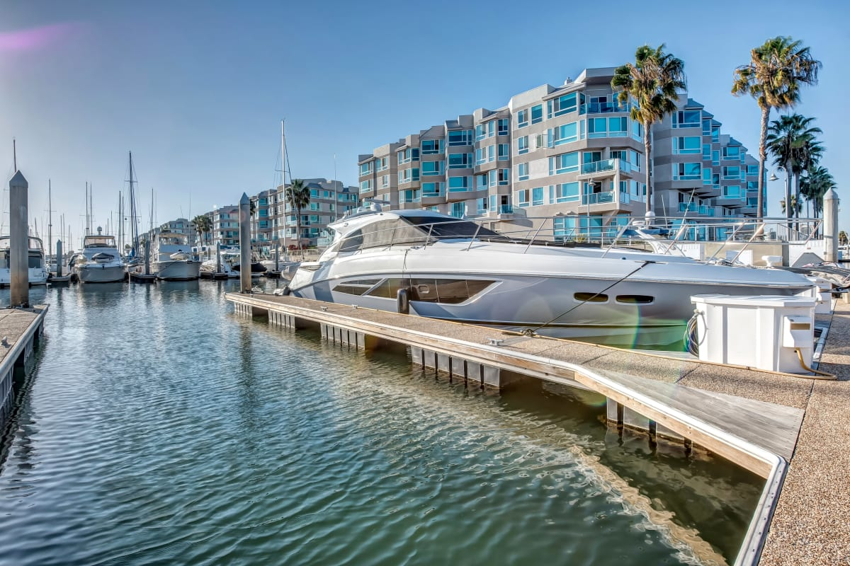 View of our luxury community from the docks at the marina at Esprit Marina del Rey in Marina Del Rey, California