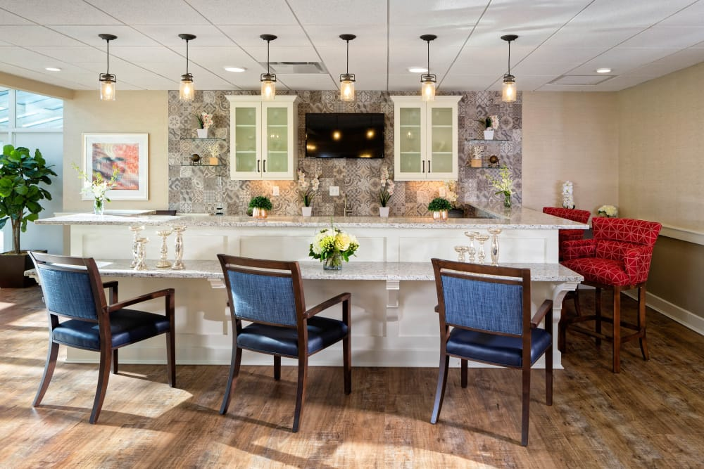 Breakfast bar at Maplewood at Mayflower Place in West Yarmouth, Massachusetts