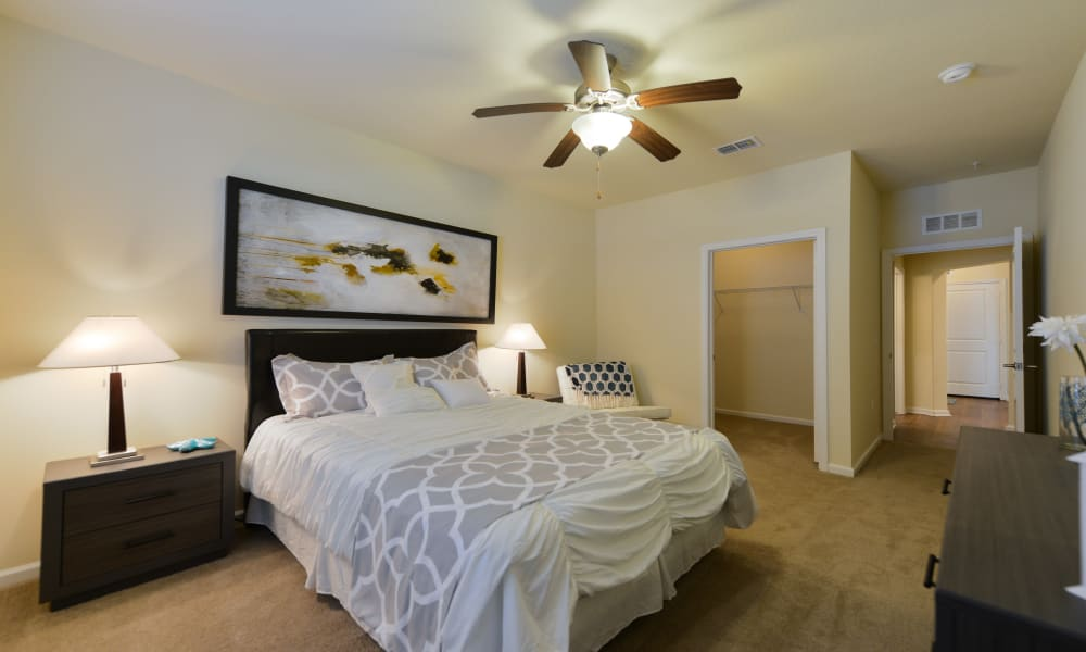 Bedroom with fan at Cabana Club and Galleria Club in Jacksonville, Florida