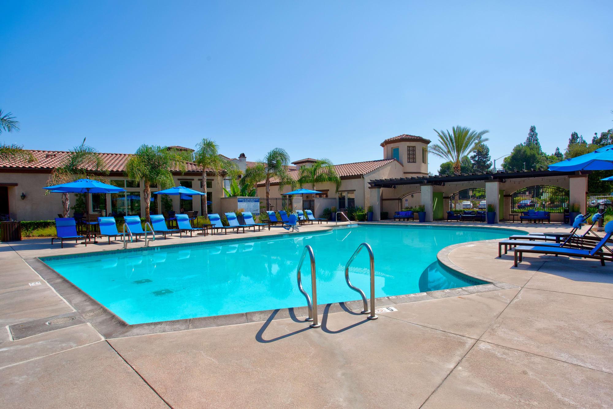 The pool on a beautiful day in Corona, California