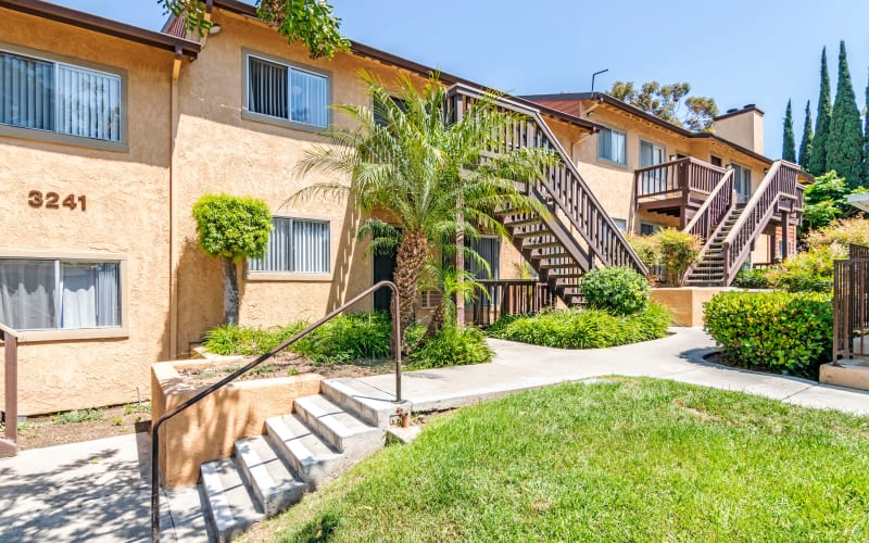 Walkways through the property at Hillside Terrace Apartments in Lemon Grove, California