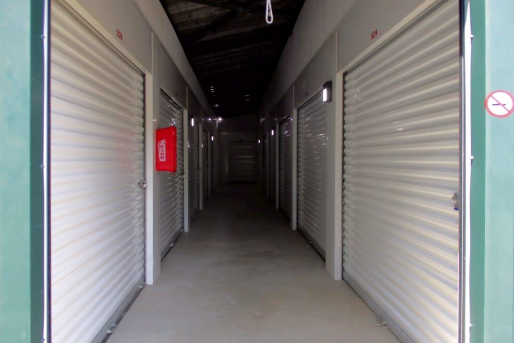 Hallway of storage units at Prime Storage in Montpelier, VA