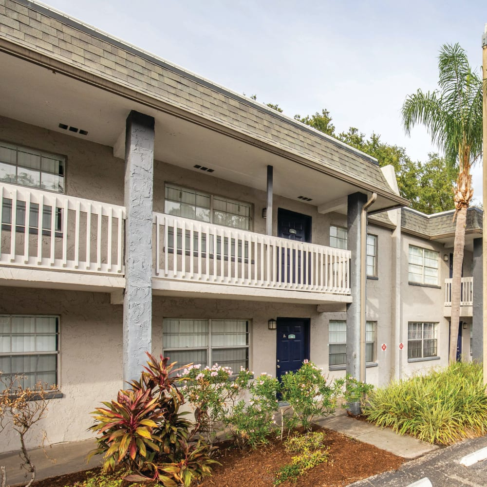 Nicely manicured landscape at Southern Cove Apartments in Temple Terrace, Florida