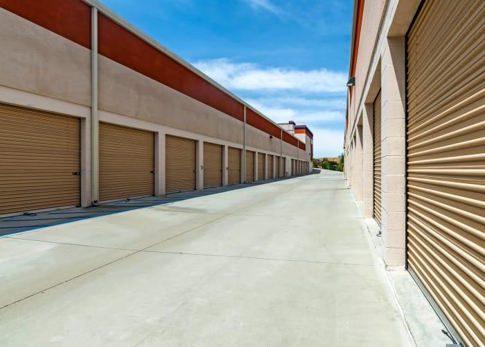 A driveway between storage units at Carlsbad Self Storage in Carlsbad, California