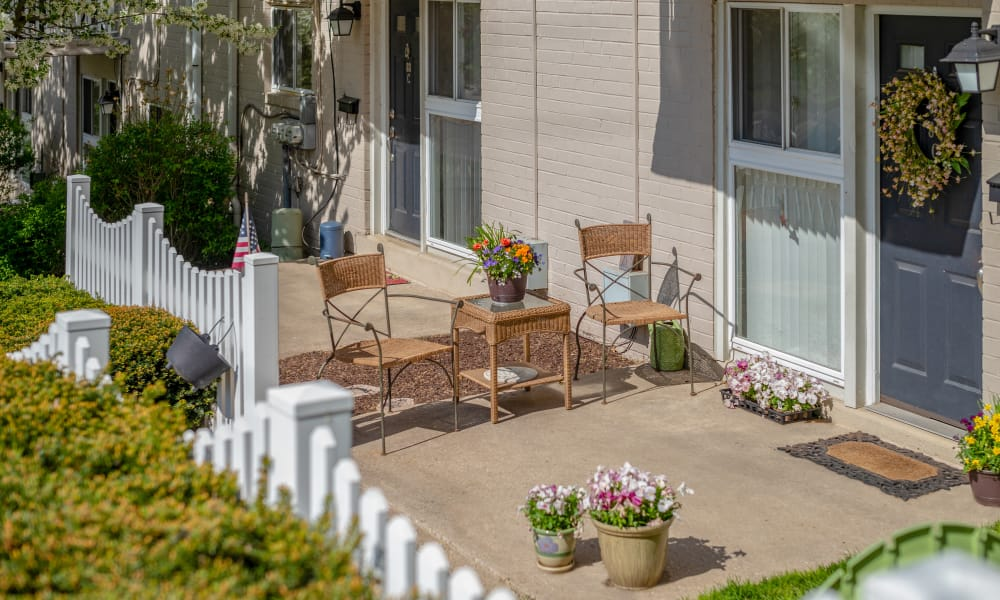 Private patio at apartments and townhomes in Norristown, Pennsylvania