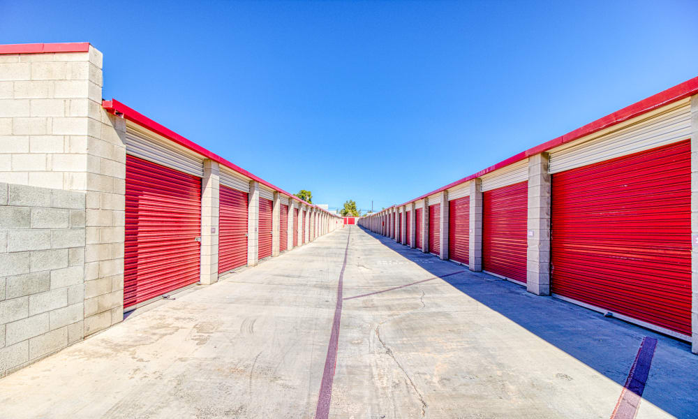 Driveway through storage units at Devon Self Storage in Apple Valley, California