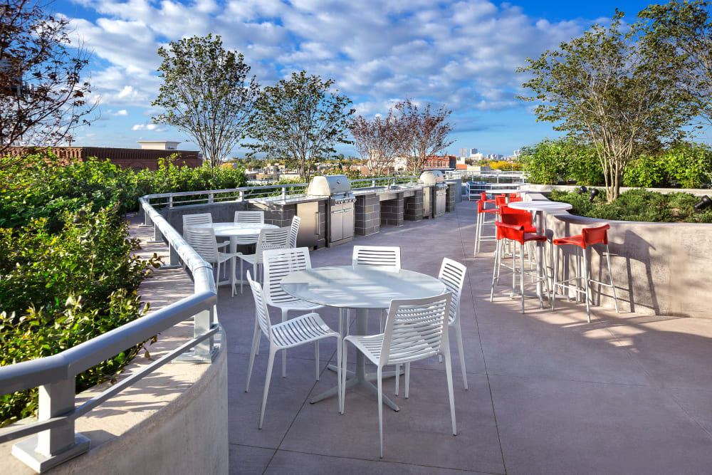 Outdoor deck with plenty of spacing at The Residences at NEWCITY in Chicago, Illinois