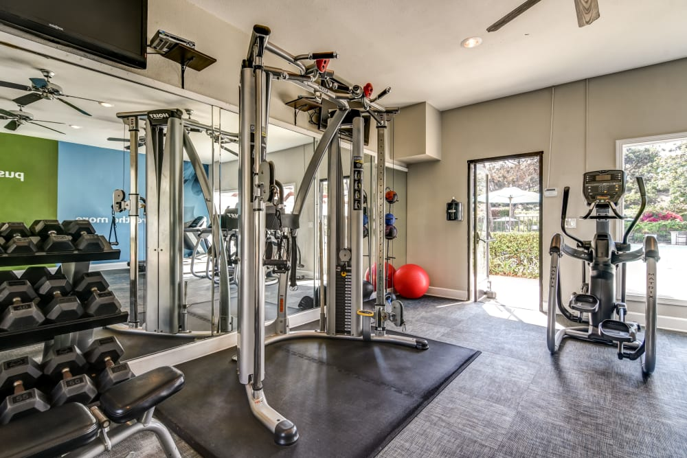 Fitness center at Avana La Jolla Apartments in San Diego, California