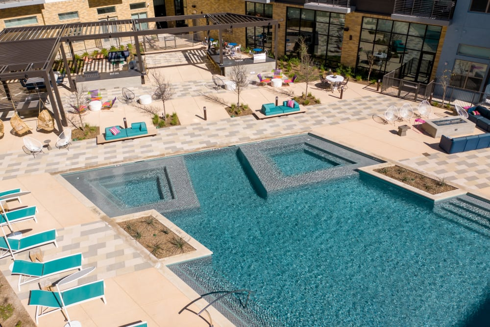 Resort Pool with art deco styling at  in San Antonio,TX