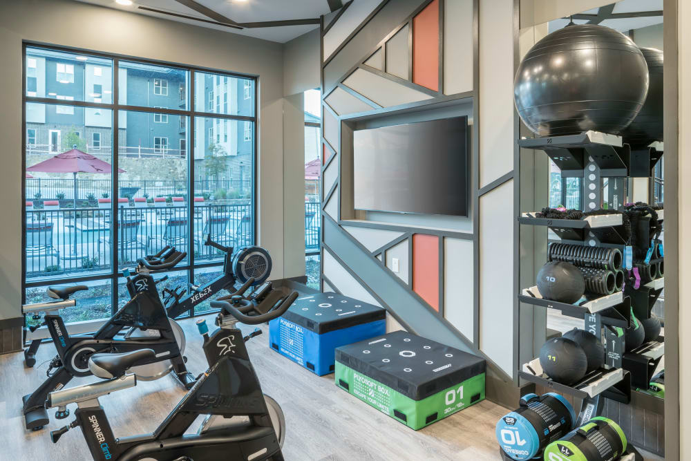 Full fitness area for residents at The ReVe in Garland, Texas