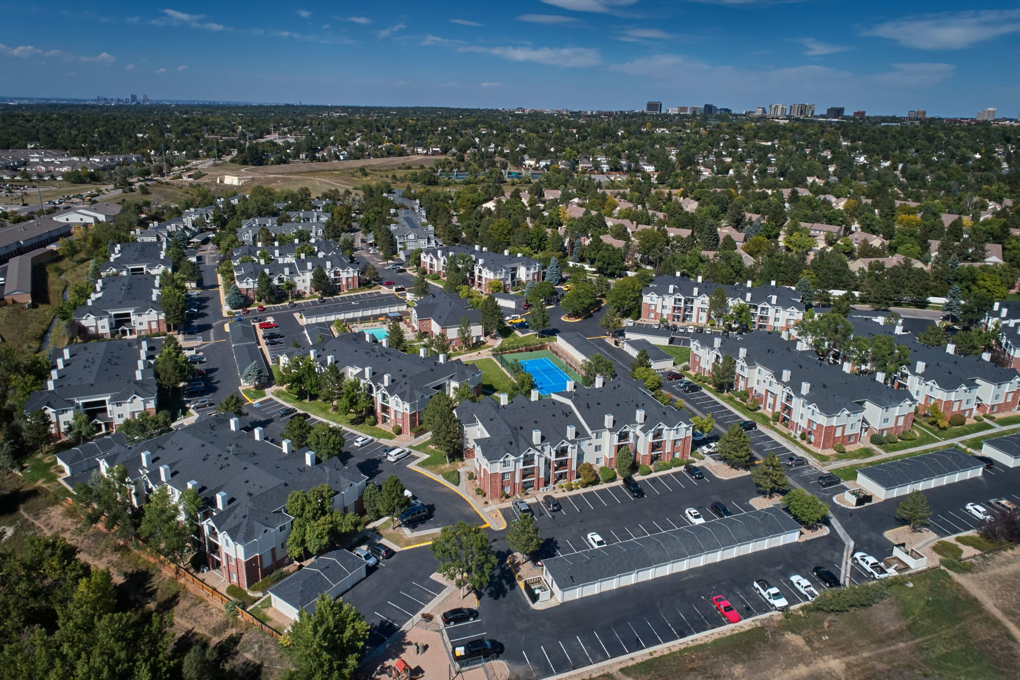 Aerial view of the property and surrounding area at Villas at Homestead Apartments in Englewood, Colorado