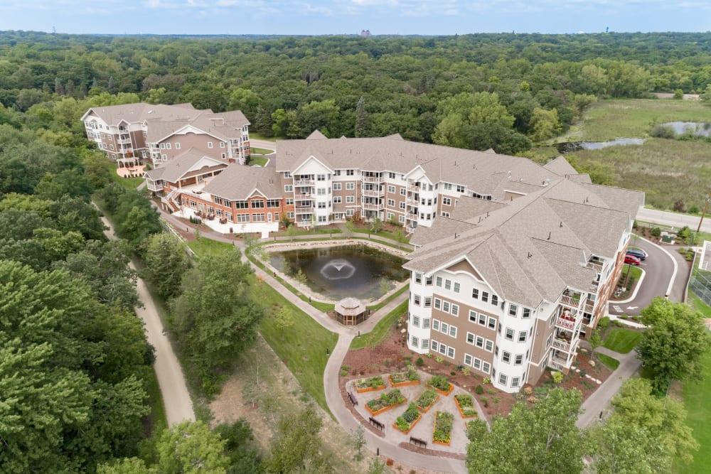 Aerial view of Applewood Pointe Minnetonka in Minnetonka, Minnesota.