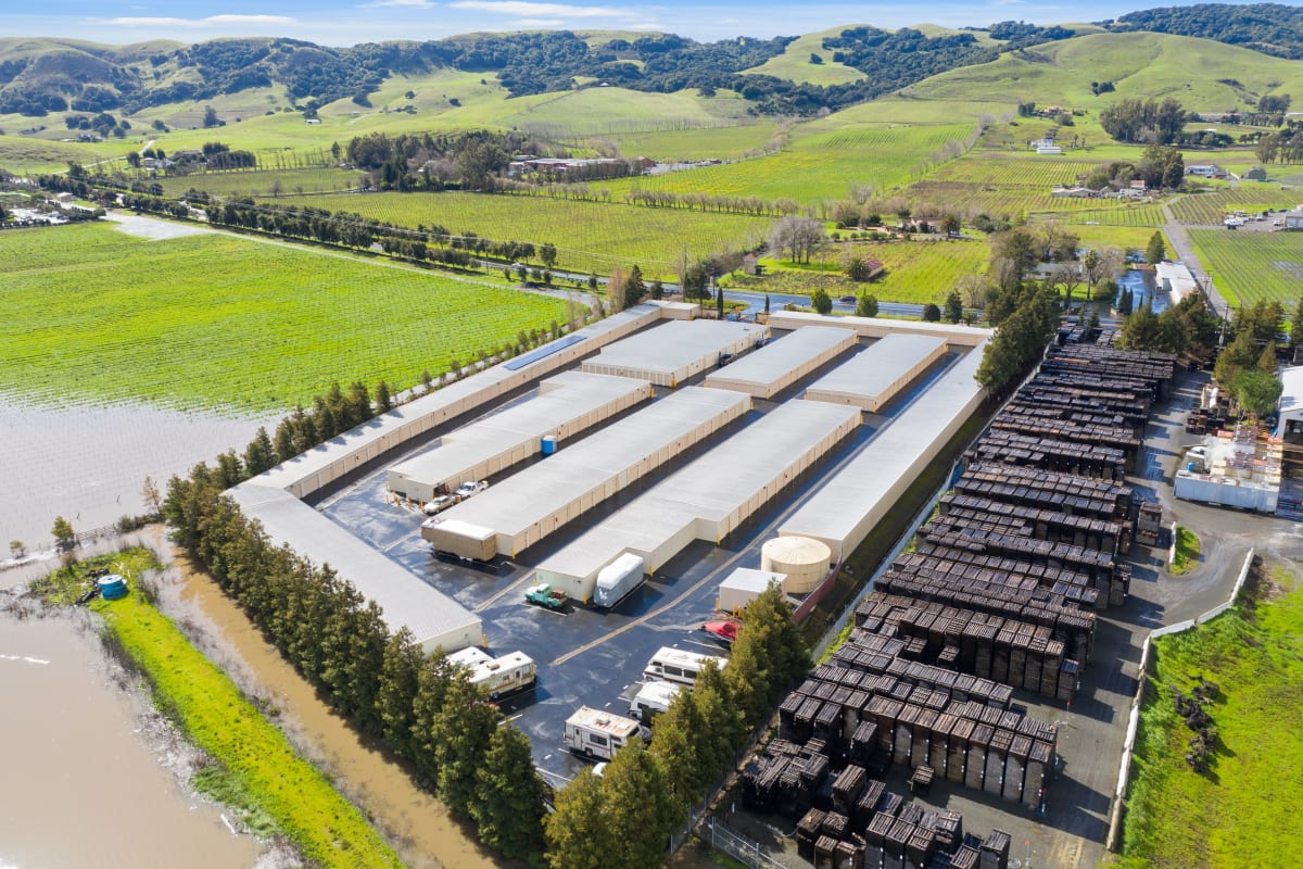 Arial view of Carneros Self Storage Park in Sonoma, California and surrounding landscaping