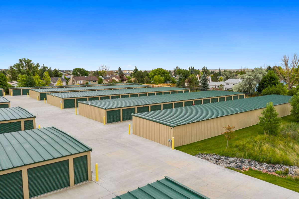 A wide driveway for loading outdoor units at Storage Star Cheyenne in Cheyenne, Wyoming