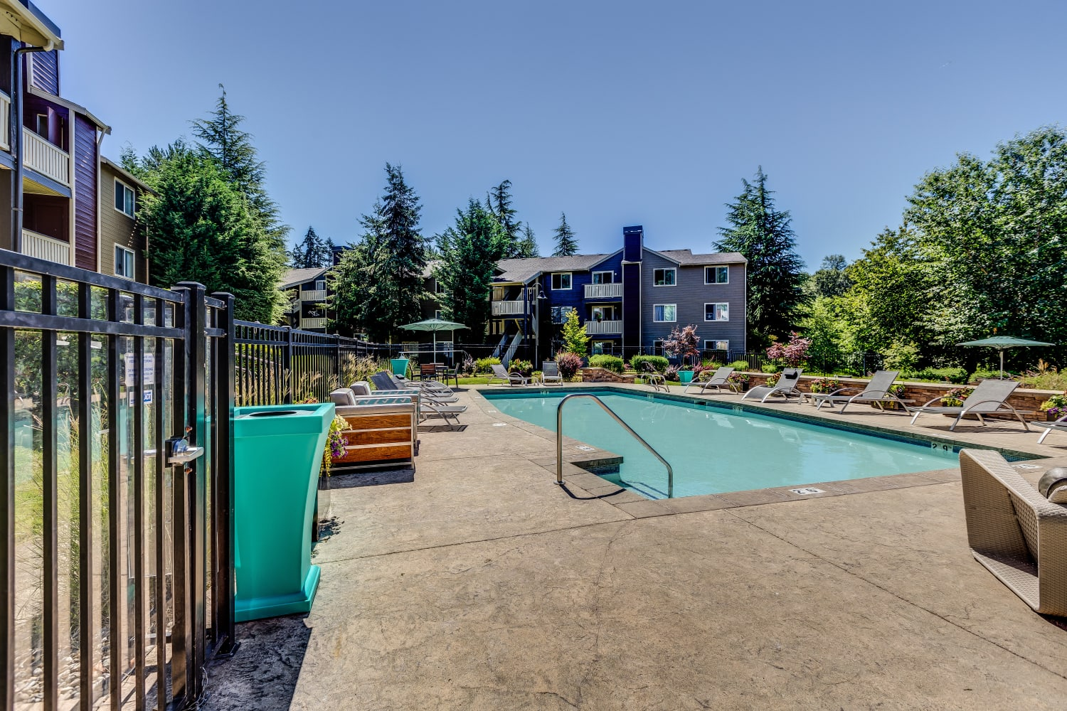 Entrance to the pool at The Preserve at Forbes Creek in Kirkland, Washington