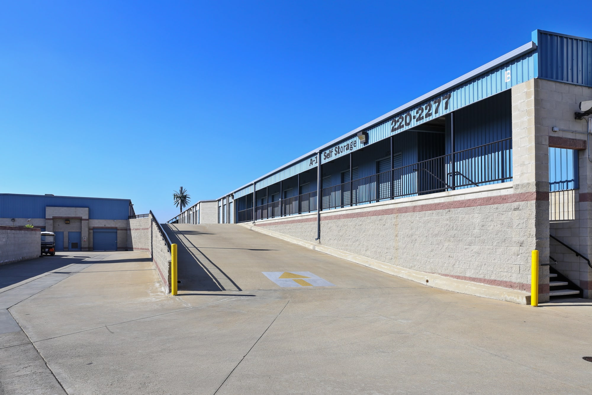 A ramp to higher outdoor storage units at A-1 Self Storage in Anaheim, California