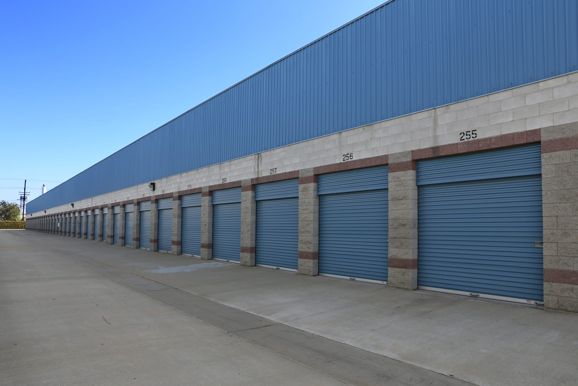Wide driveway for drive-up access storage in Anaheim