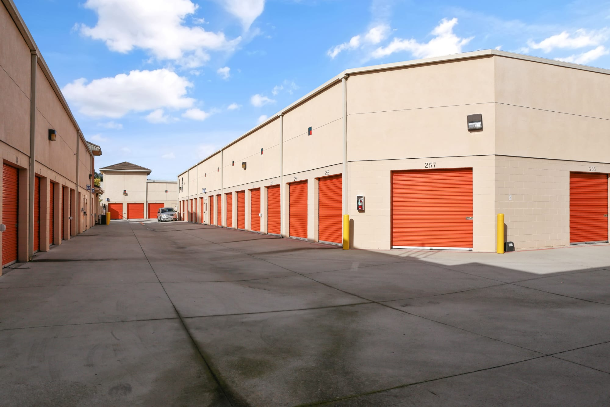 Wide driveways for easy outdoor accessed storage at A-1 Self Storage in Cypress, California