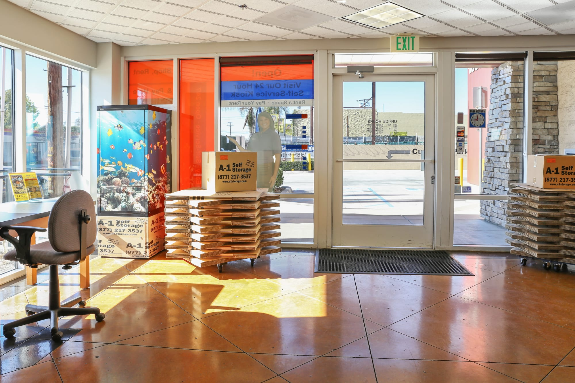The leasing office at A-1 Self Storage in North Hollywood, California