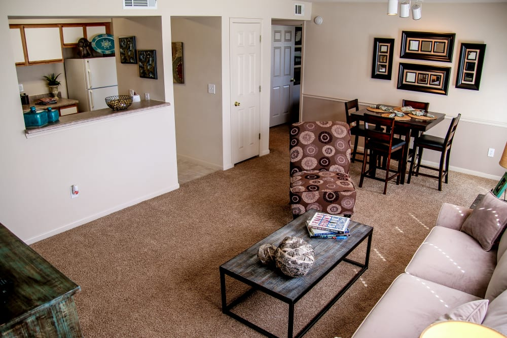 A large living room at Winchester Apartments in Amarillo, Texas