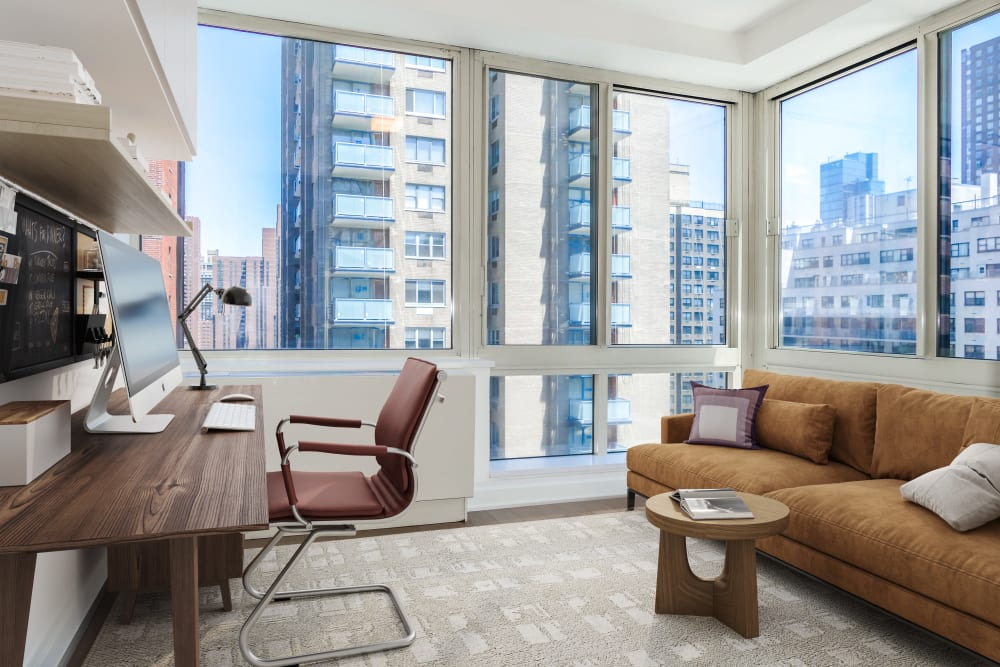 Corner windows in the spacious office area at The Ventura in New York, New York