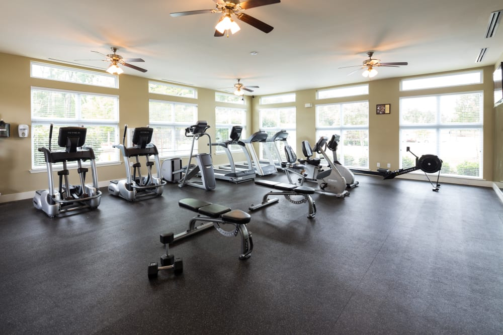 Fully equipped fitness center at The Preserve at Hardin Valley in Knoxville, Tennessee