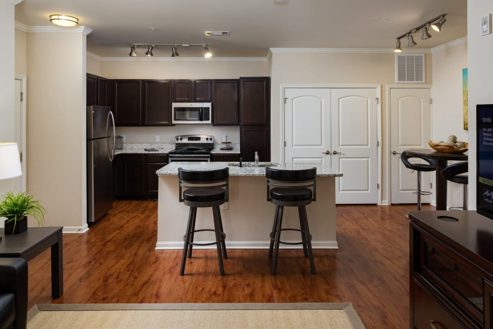 Kitchen island with barstool seating at The Preserve at Hardin Valley in Knoxville, Tennessee
