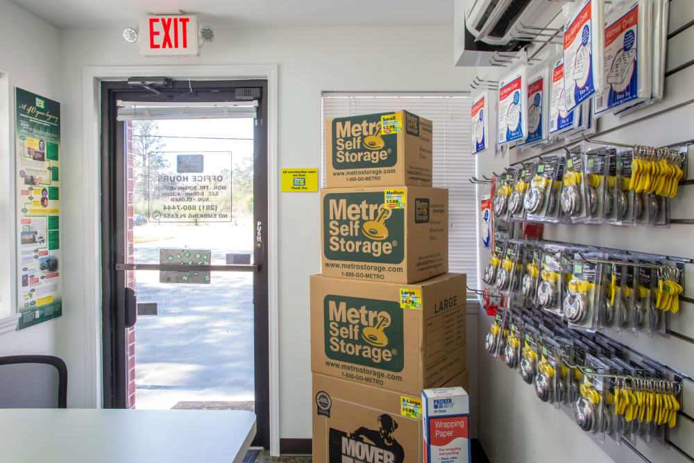 Packaging supplies at Metro Self Storage in Houston, Texas