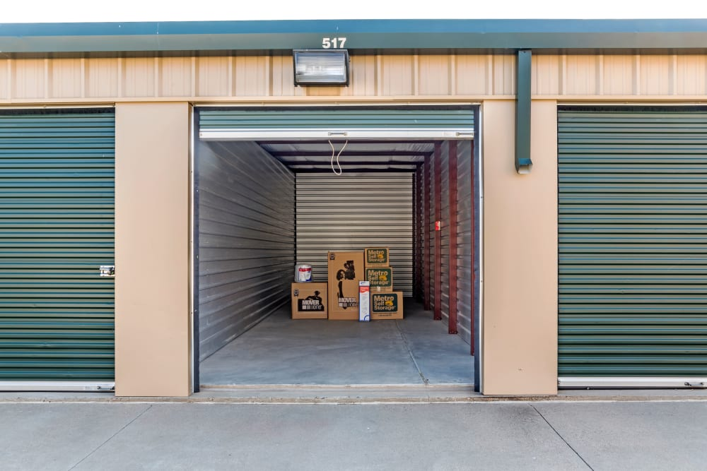 Open outdoors unit with boxes at Metro Self Storage in Amarillo