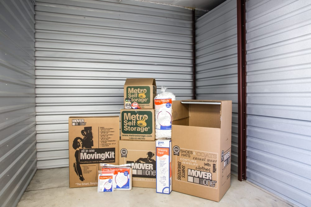 Unit interior with packages at Metro Self Storage in Amarillo, Texas