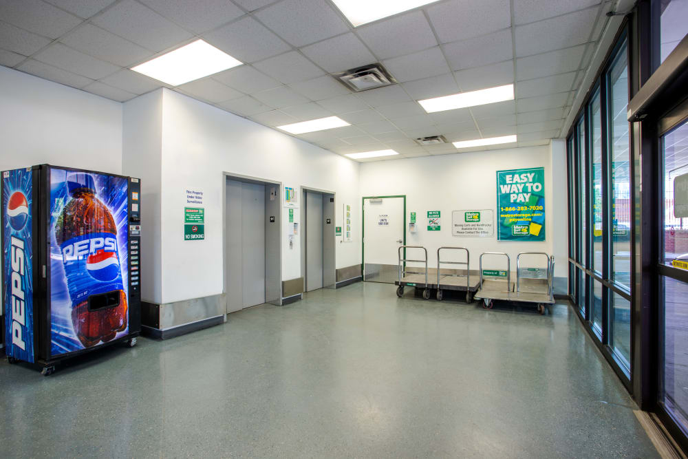 Elevator and carts available at Metro Self Storage in Chicago, IL