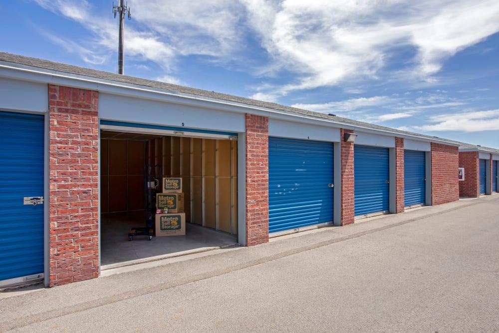 Open storage unit at Metro Self Storage in El Paso, Texas
