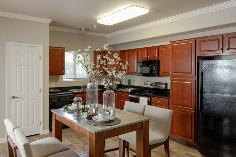 Beautiful dining room and kitchen at Wolf Ranch Condominium Rentals in Sacramento, California