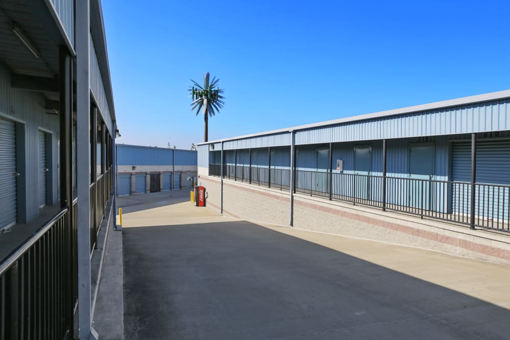 Rows of outdoor storage units at A-1 Self Storage in Anaheim, California