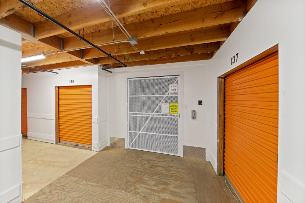 Indoor storage units and a freight elevator at A-1 Self Storage in La Mesa, California