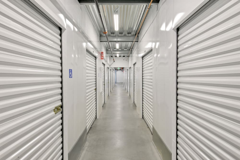 A row of indoor storage units at A-1 Self Storage in National City, California