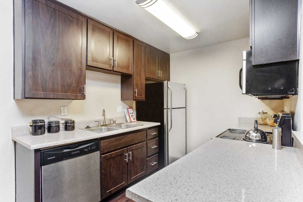 Fully equipped kitchen at Shadow Ridge Apartments in Oceanside, California