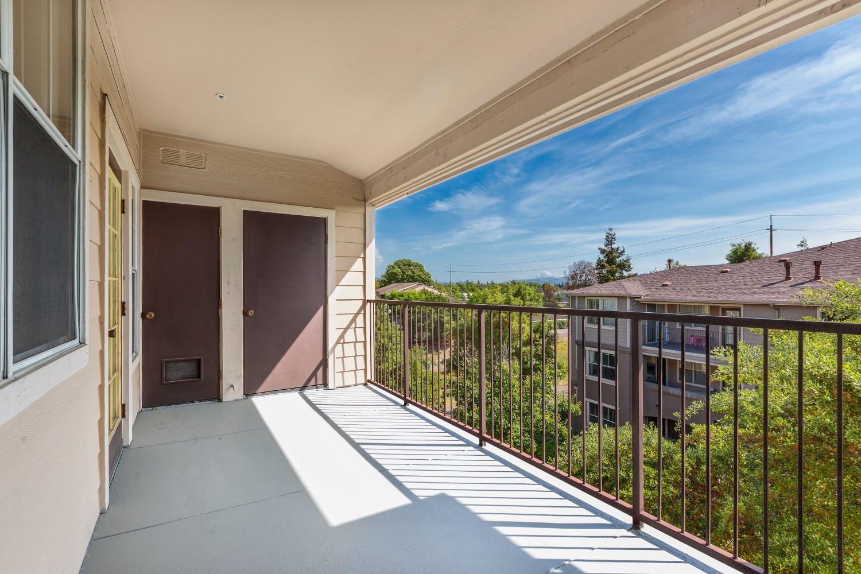 Spacious patio at Park Hacienda Apartments in Pleasanton, California