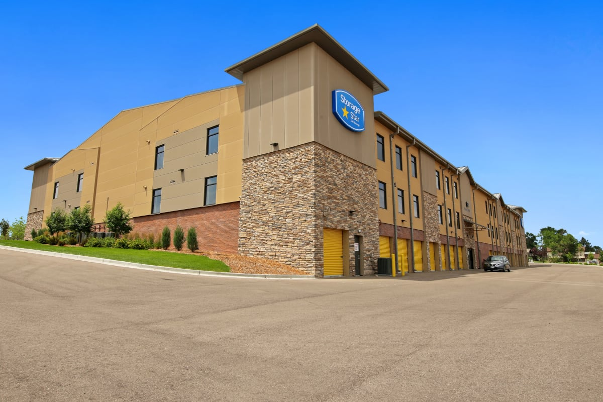 Exterior and surrounding parking lot at Storage Star South College in Fort Collins, Colorado