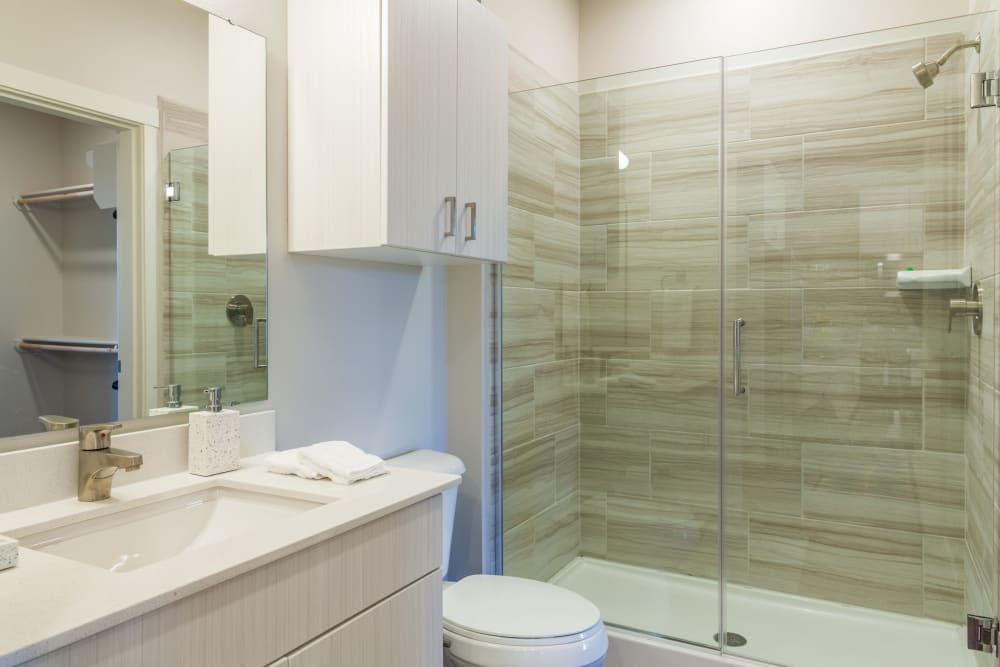 Spacious primary bathroom at Capitol Flats in Santa Fe, New Mexico