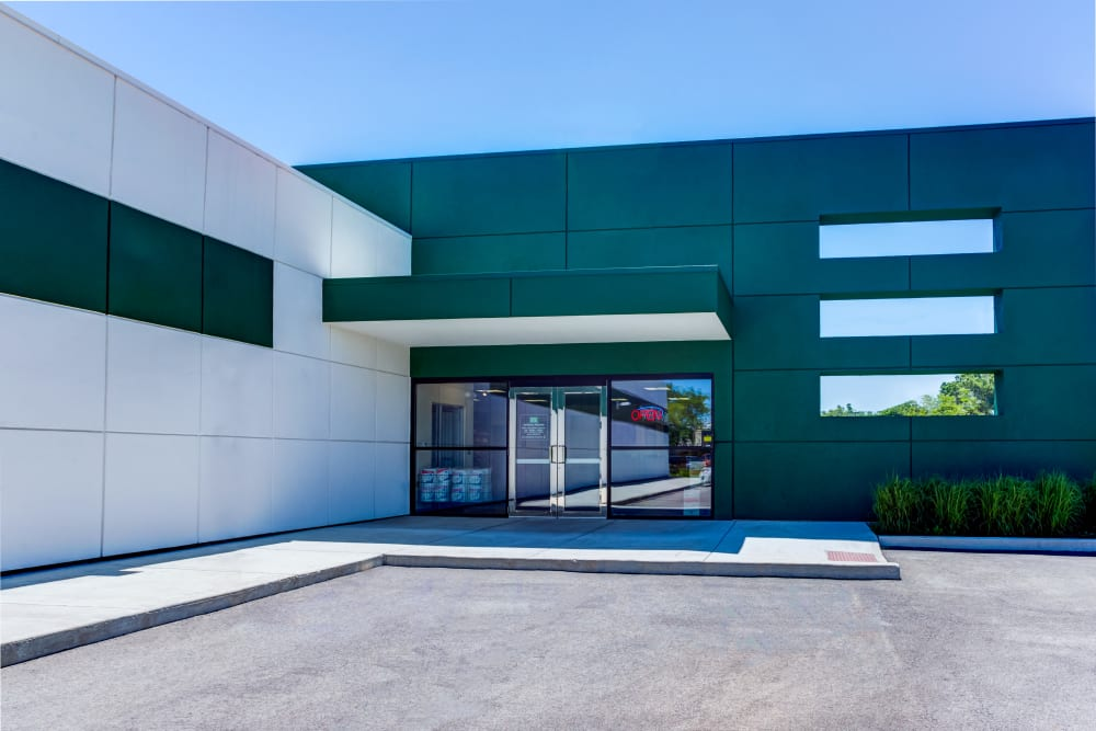 Leasing office entrance at Metro Self Storage in Deerfield, Illinois
