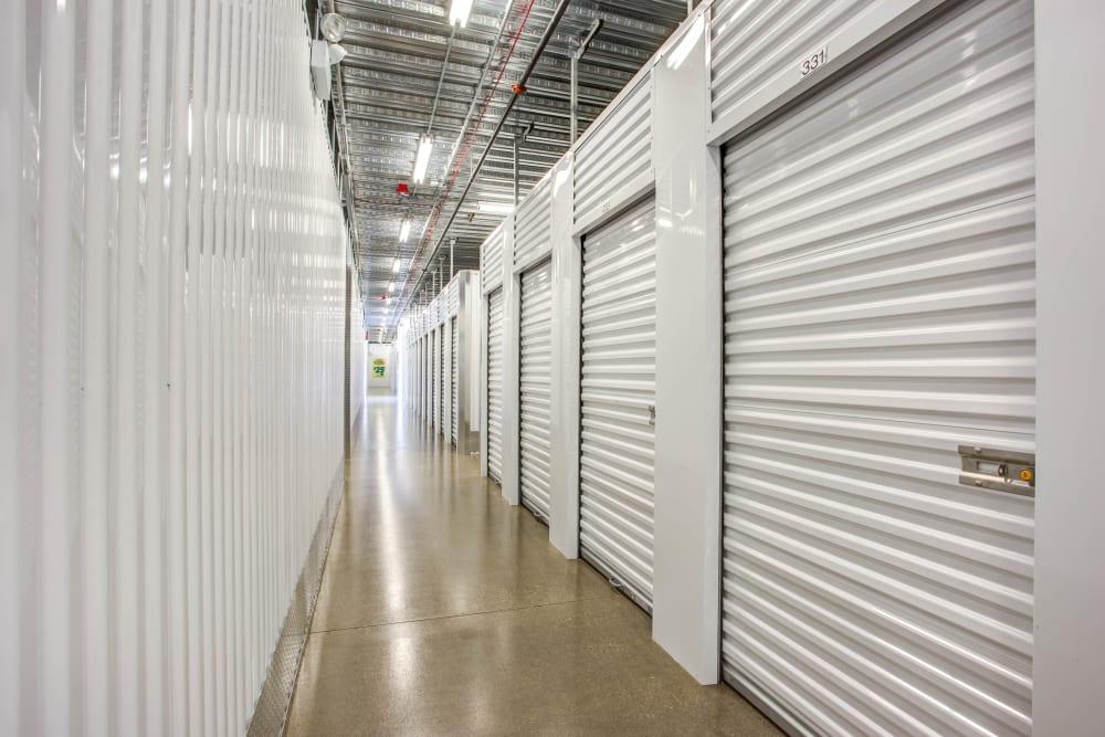 Indoor units hallway at Metro Self Storage in Skokie, Illinois