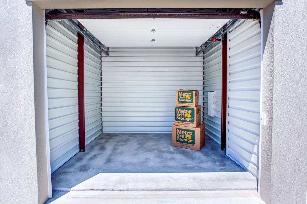 Unit interior view with packages at Metro Self Storage in Deerfield, Illinois