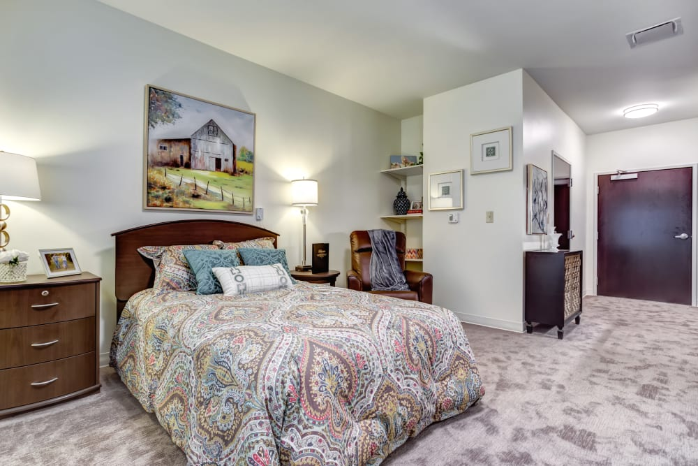 Model bedroom at Taylor Springs Health Campus in Columbus, Ohio.
