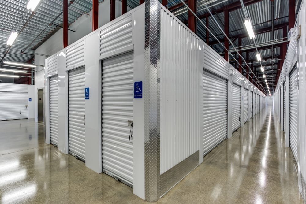 Storage facility interior storage units at Metro Self Storage