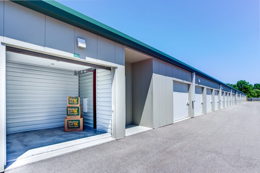 Open exterior unit with packages at Metro Self Storage in Deerfield, Illinois
