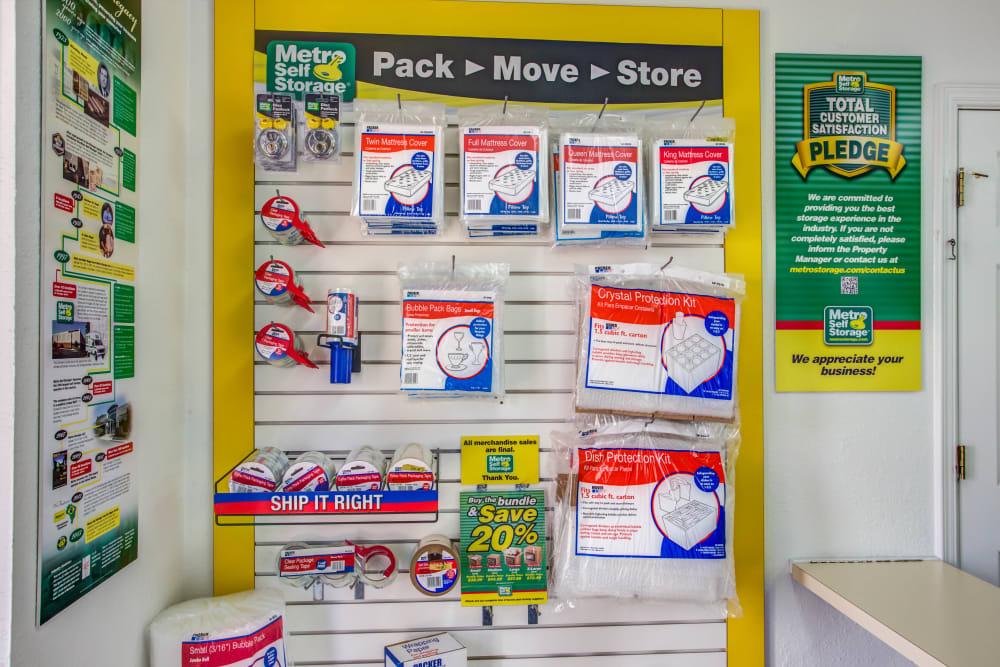 Packaging supplies at Metro Self Storage in El Paso, Texas